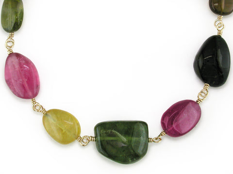 MULTICOLOR TOURMALINE PIG TAIL NECKLACE