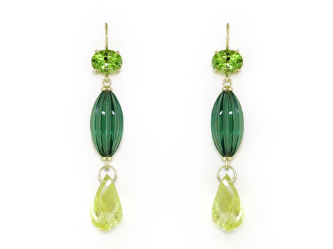 PERIDOT, GREEN QUARTZ & LEMON CITRINE EUROWIRE EARRINGS