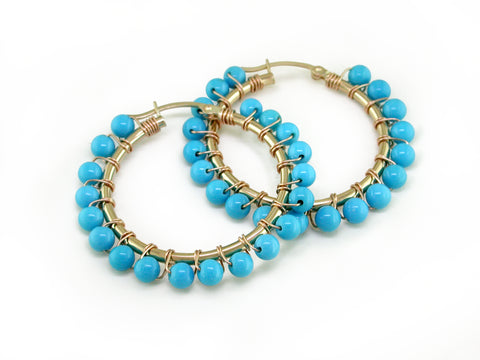 HOOP EARRINGS WITH TURQUOISE BEADS