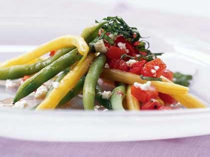 Yellow & Green Bean Salad with Chunky Tomato Dressing