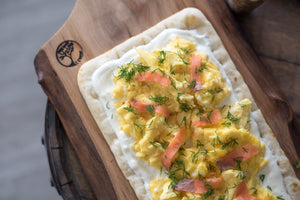 Scrambled Eggs and Smoked Salmon Breakfast Pizza