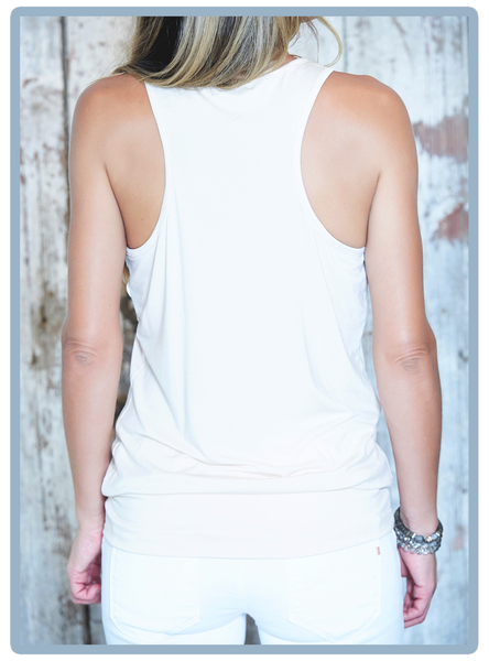 Blouson razor back tank with band.