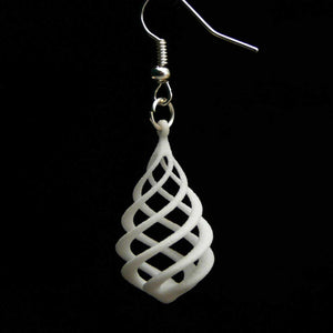 "Open image in slideshow, 3D printed earrings ""Drop Curlicue"""
