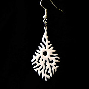 "Open image in slideshow, 3D printed earrings ""Elkhorn Leaf"""