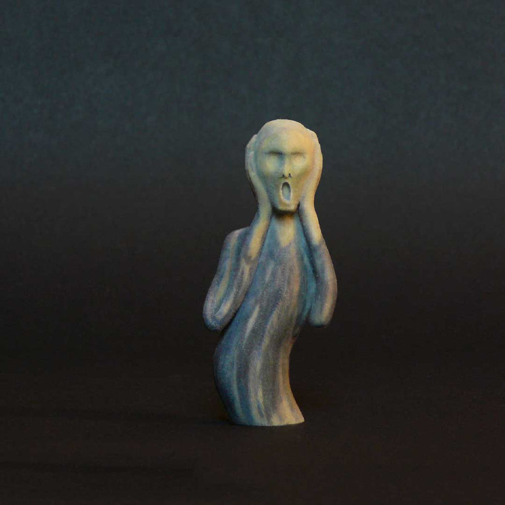 Edvard Munch artwork sculpture. 3D printed sculpture from sandstone with integrated original paintstrokes.