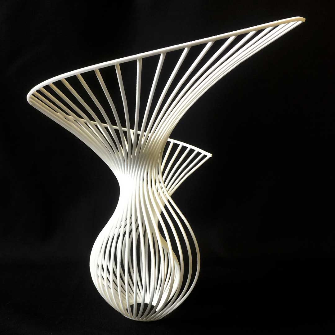 3D printed white geometric shape art