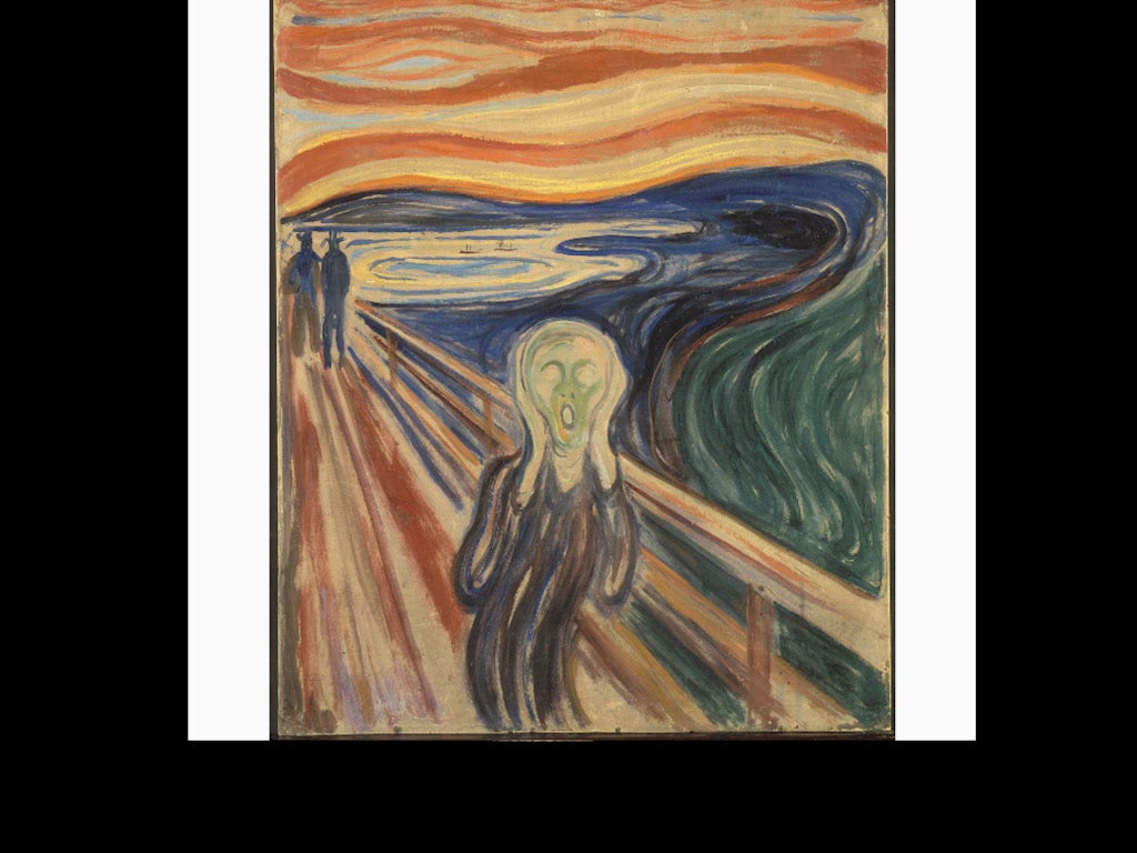 Animation of The Scream by Munch where the accuracy of the sculpture can be clearly seen.