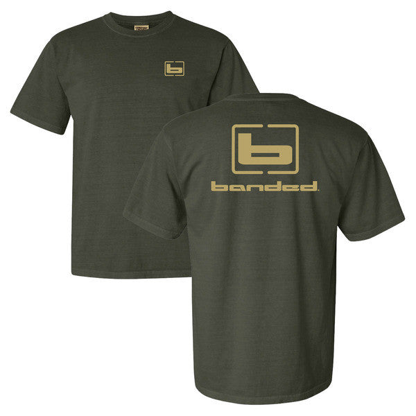 Banded S/S Signature Tee Olive w/Tan logo