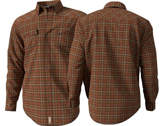 Banded Button Down Flannel Shirt Brown Plaid