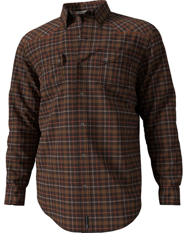 Banded Button Down Flannel Shirt Rust Plaid
