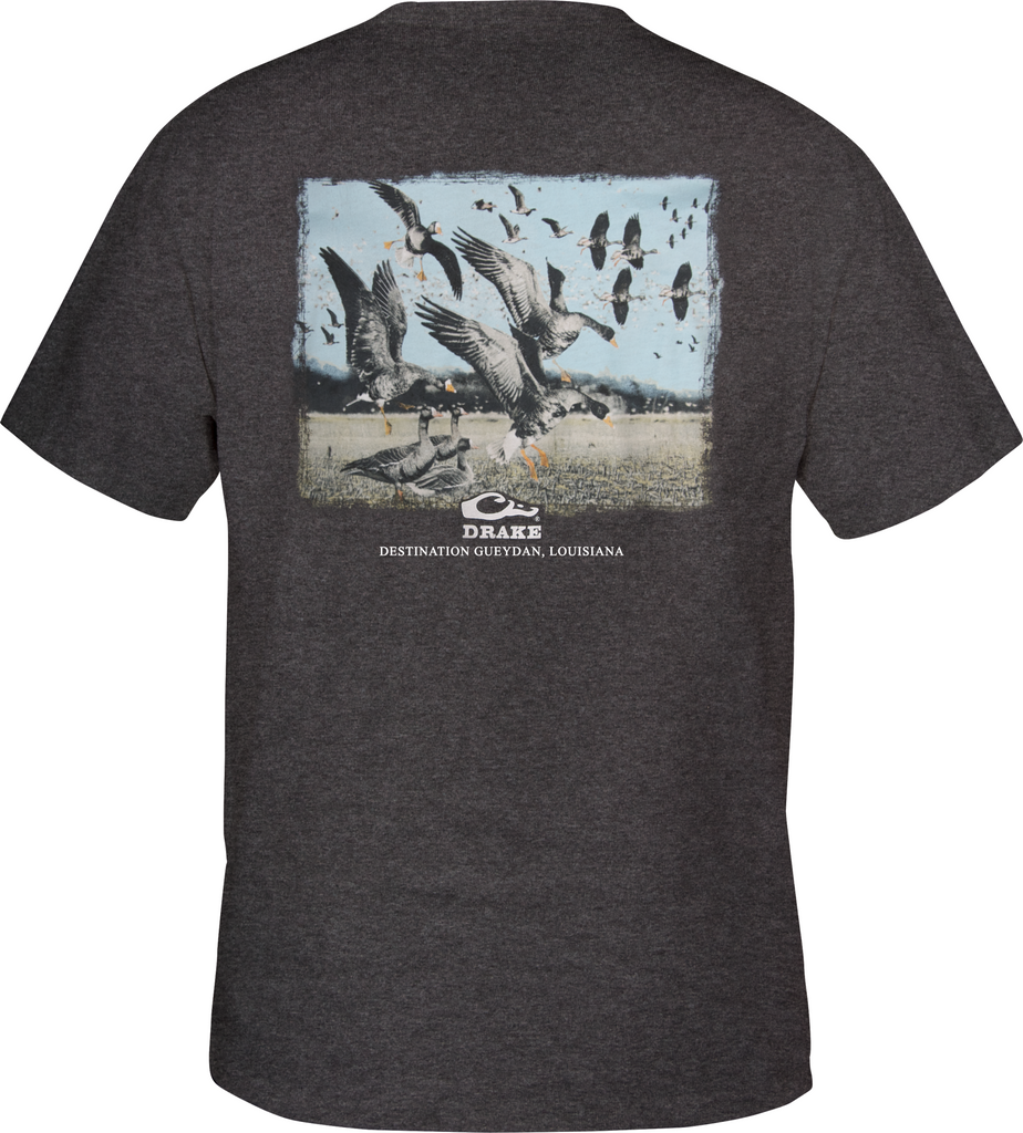 Drake Waterfowl Destination Series T-Shirt S/S Gueydan, LA Heather Gray DT2000