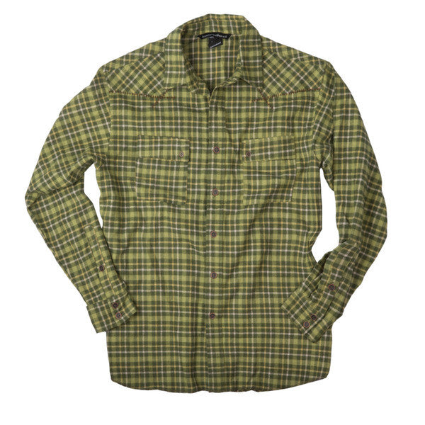 Banded Button Down Flannel Shirt Olive Plaid