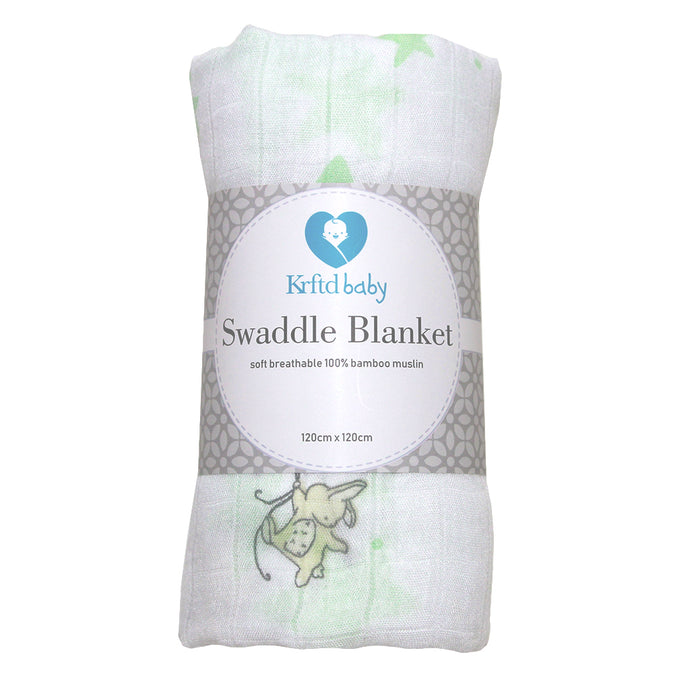 Bamboo Swaddle Blanket (Elephants & Bunnies)