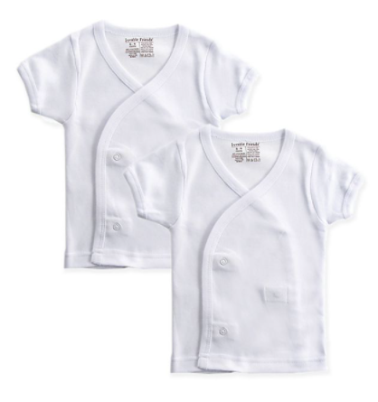 2-Pack Short Sleeve Side Snap Shirts - White