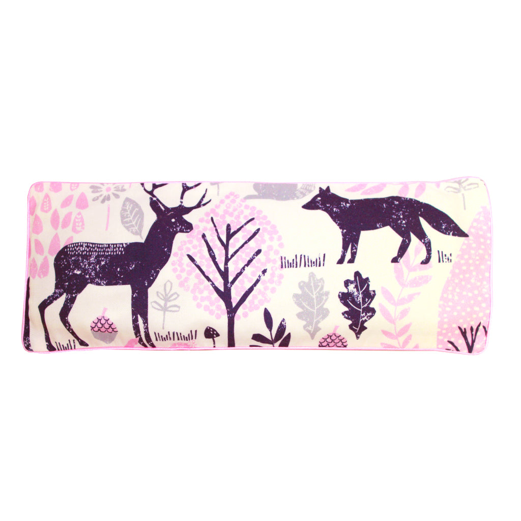 Woodland Animals Snuggy Beansprout Husk Pillow - Pink (Organic Cotton)