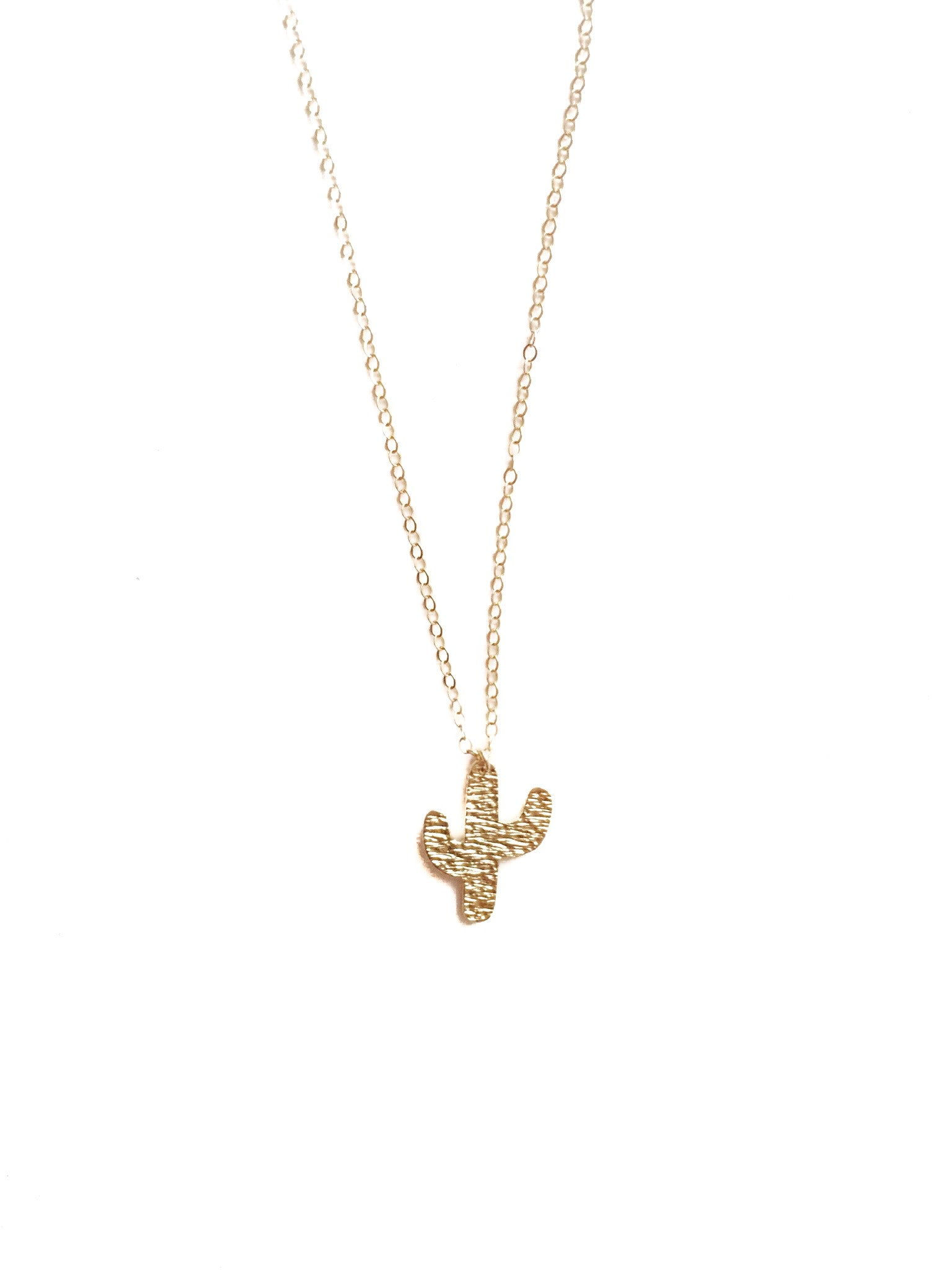 Hammered Cactus Gold Filled Necklace