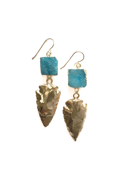 Golden Arrow Druzy Earrings