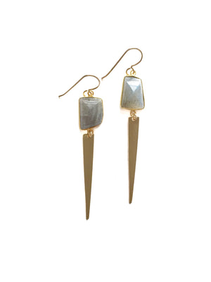Labradorite Triangle Spiked Earrings