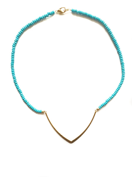 Turquoise Chevron Bar Necklace
