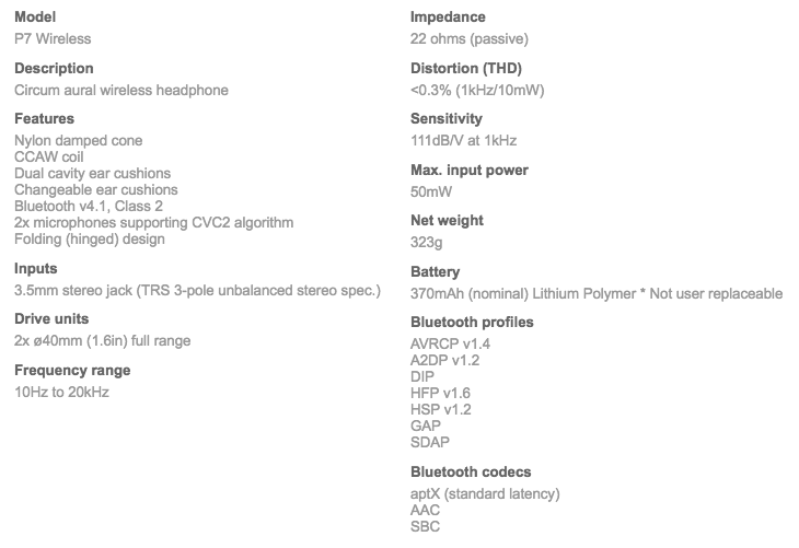 B&W P7 Wireless headphones technical specifications
