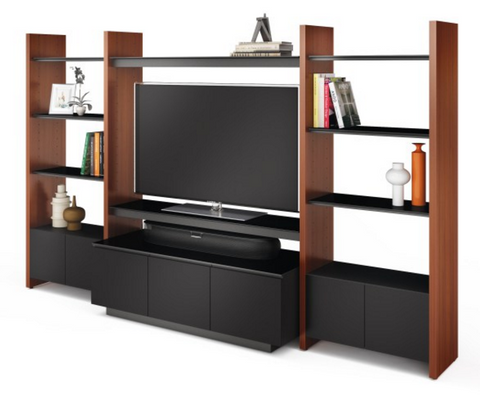 Semblance by BDI provides lots of shelving space to keep your TV area organized and uncluttered.