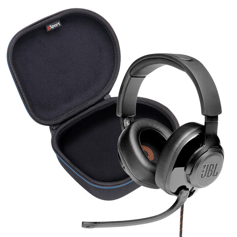 JBL Quantum 300 Hybrid wired over-ear gaming headset with flip-up mic and Deluxe gSport Hardshell Case