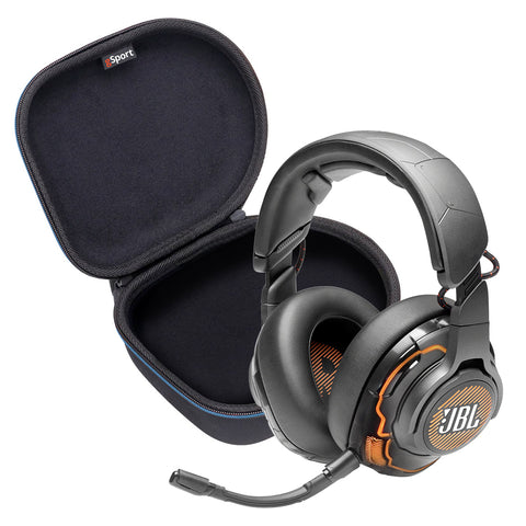JBL Quantum ONE USB wired over-ear professional gaming headset with head-tracking enhanced JBL QuantumSPHERE 360 and Deluxe gSport Hardshell Case