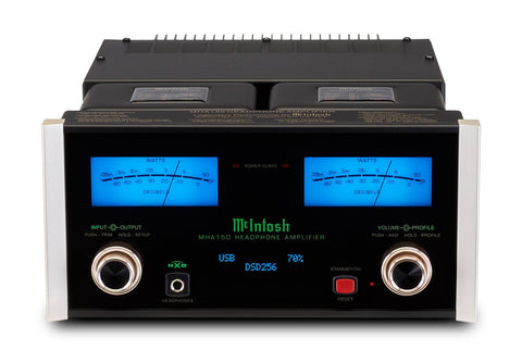 McIntosh MHA150 Front On Blue Headphone Amp
