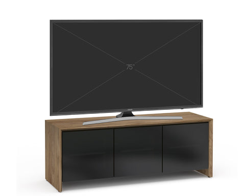Triple Width Natural Walnut AV Media Cabinet With TV And Smoked Glass Doors