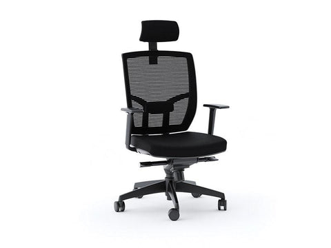 BDI TC-223 Ergonomic Task Chair black fabric face right