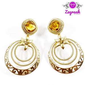 Round Golden Traditional Earrings