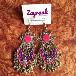 Pink & Purple Flower Afghan Earring