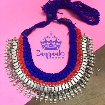 Red & Blue Thread Silver Neck-Piece