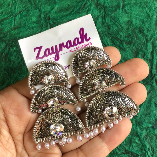 Triple Layer Silver Jhumki