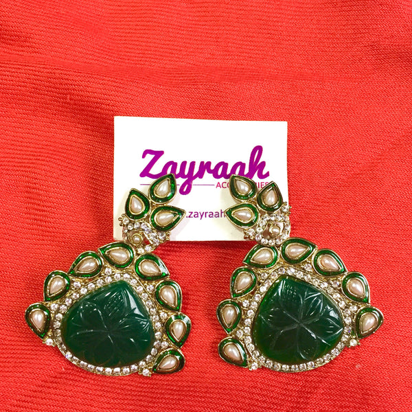 Emerald Green Kundan Stone Earrings