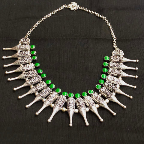 Green Stone Oxidised Neckpiece
