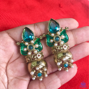 Green Stone Polki Earrings