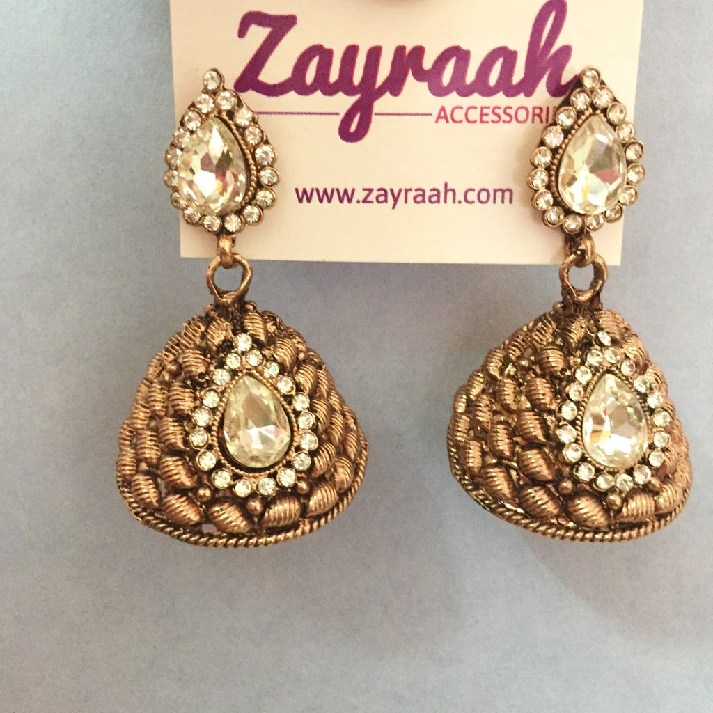 stone products zayraah earrings white image bronze