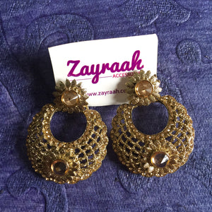 Golden Round Traditional Earrings