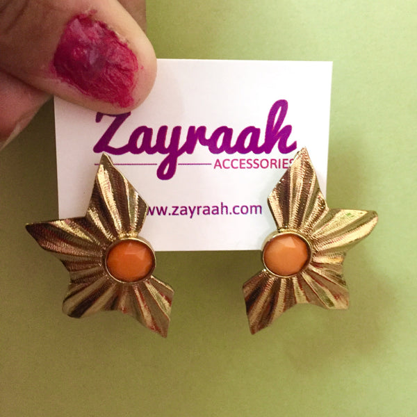 Half Star Earrings 1 (Orange)