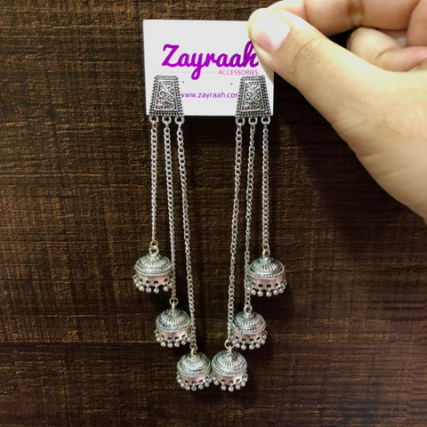Long Oxidised Silver Jhumka