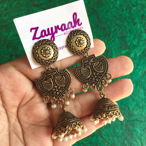 Double Layer Golden Oxidised Jhumki