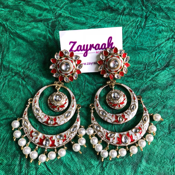 Red & White Meenakari Chandbali