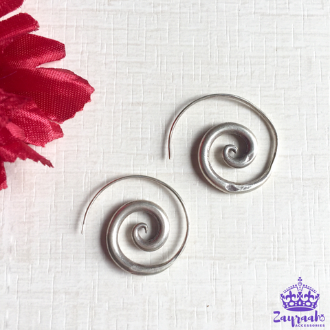 Pure Silver Spiral Earrings