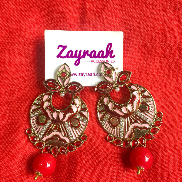 Light Pink & Red Stone Jhumki