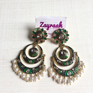 Green Meenakari Chandbali