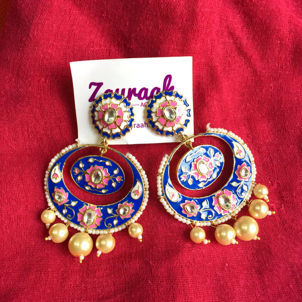 Meenakari Chandbali 2 (Royal Blue-Pink)