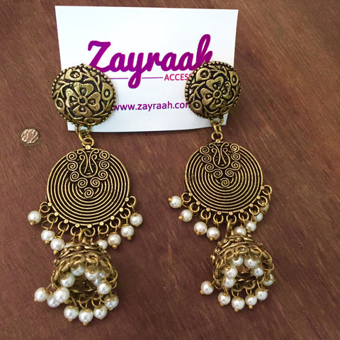 Double Layer Dull Golden Jhumka