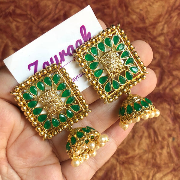 Green Stone Rectangle Jhumka