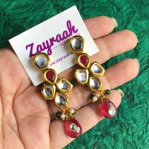 Multi-color Kundan Jhumkis